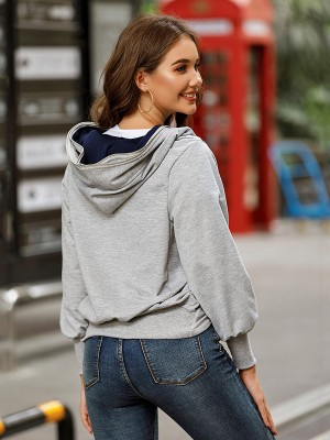 Gray Coat Bishop Sleeve Irregular Hem Casual Comfort Fit