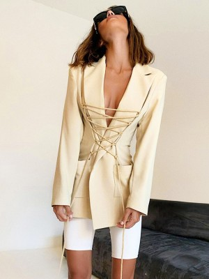 Beige Lapel Neck Drawstring Lace-Up Suit Jacket Ladies Fashion