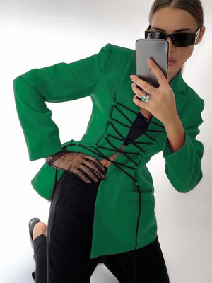 Green Lace-Up Lapel Neck Drawstring Suit Jacket For Work