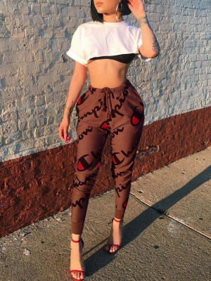 Exceptional Khaki High Rise Drawstring Athletic Pants Chic Online