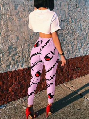 Surprising Pink Drawstring Ankle Length Sport Pants Cheap Fashion Style