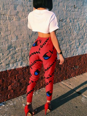 Sophisticated Red Waist Lace-Up Pants Digital Printed Casual Comfort