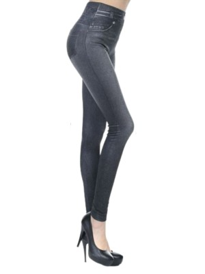 Black Full Length Fake Pockets Jeans-Like Legging Womens Trendy Look