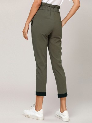 Brightly Army Green Ruched High Rise Capri Pants Tie Fashion Style