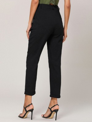 Splendor Black Straight-Leg Pants Pocket Button For Ladies