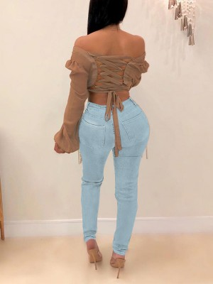 Lovable Light Blue Side Pockets Ripped Tassel Jeans Slim Fit