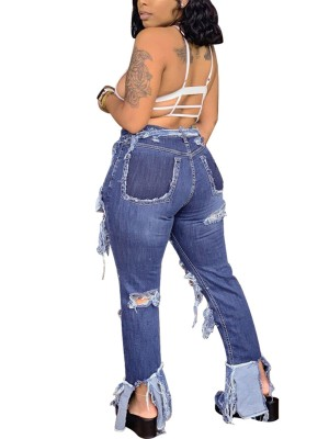 Paradise Blue Irregular Hem Ripped Pockets Jeans For Walking