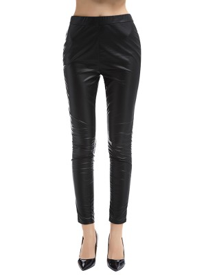Passionate Black High Rise Leather Pants Full Length Great Quality