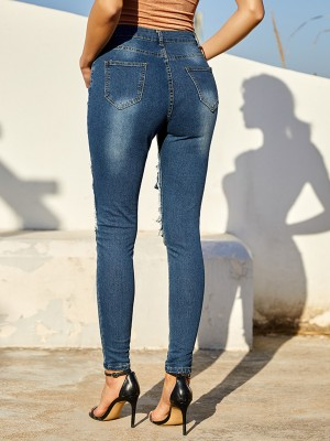 Blue Knee False Pockets Jeans High Waist Delightful Garment