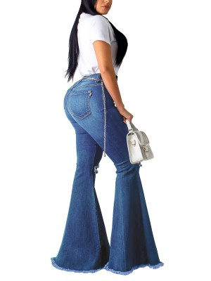Surprising Blue Bell Bottom Pocket High Waist Jeans Soft-Touch