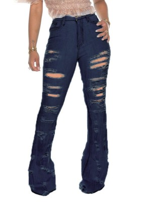 Deep Blue High Waist Bell Bottom Denim Pants Feminine Grace