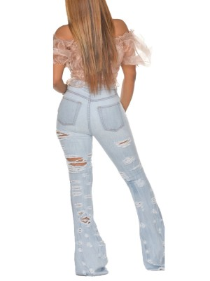Appealing Light Blue Pockets Ripped Flare Jeans High Rise