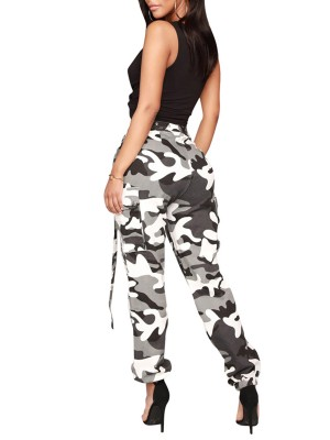 Camouflage Multi Pockets Cargo Pants Feminine Fashion Style