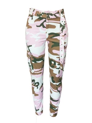 Stretchable Pockets Camo Cargo Pants With Belt For Sexy Women