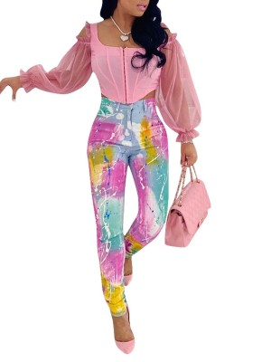 High Waist Delightful Graffiti Pattern Jeans All-Match Style