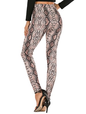 Vigorous Snake Skin Tight Pants High Waist For Sexy Women