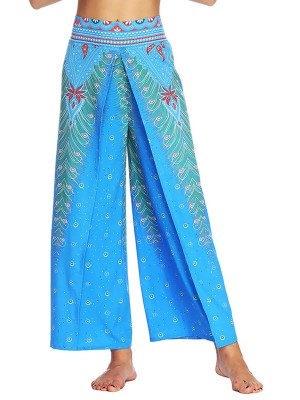 Simply Chic High Slit Wide Legs Pants Digital Printing Female Elegance