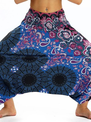Exquisitely Baggy Wide Legs Lantern Pants Digital Printing Lady Pants
