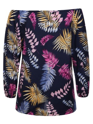 Matching Tibetan Blue Leaves Print Blouses Long Sleeves