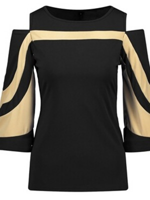 Sleek Black Bell Sleeves Cold Shoulder Shirt For Sauntering