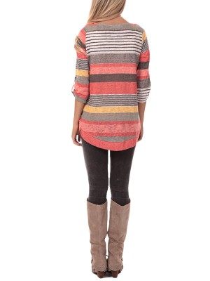 Orange Contemporary Stripe Pattern Top Round Neckline