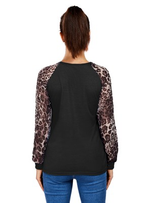 Supper Fashion Black Big Size Long Sleeves Leopard Shirt
