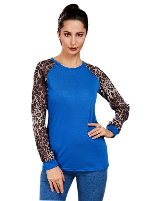 Funny Blue Full Sleeve Patchwork Top Plus Size Women Outfits