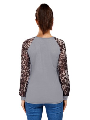 Premium Gray Round Collar Plus Size Top Patchwork Free Time