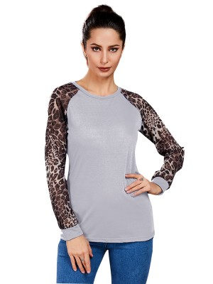 Particularly White Leopard Print Shirt Big Size Crew Neck Workout