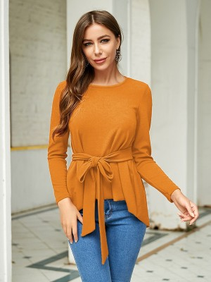 Fantastic Yellow Waist Tie Shirt Round Neck Plain All-Match