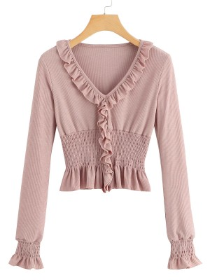 Sophisticated Pink V Neck Ruffle Trim Full Sleeve Top Vacation Time