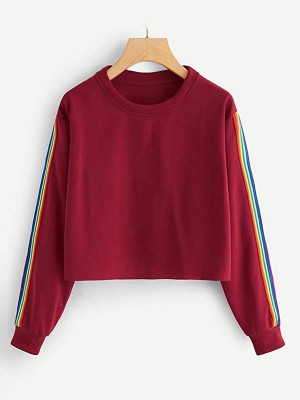 Dynamic Wine Red Rainbow Stripe Sleeve Top Round Neck Natural Fit