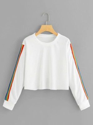 Stretch White Long-Sleeved Blouse Round Collar Trendy Clothes