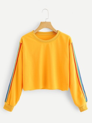 Online Yellow Round Neck Stripe Patchwork Shirt Newest Fashion