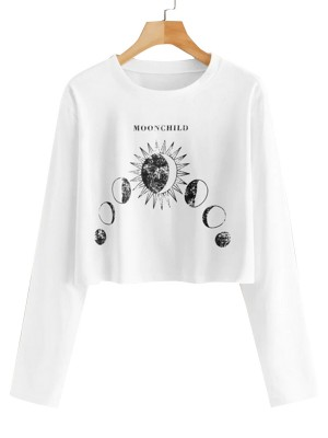 Trendy White Round Neck Full Sleeves Top Moon Print Fabulous Fit