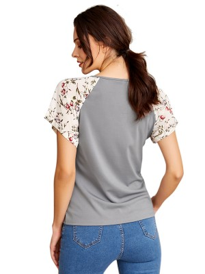 Luscious Curvy V Neck Short Sleeve Patchwork T-Shirt Online Shopping