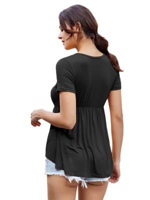 Modern Black Ruched Short Sleeve Shirt High-Low Hem Women's Fashion