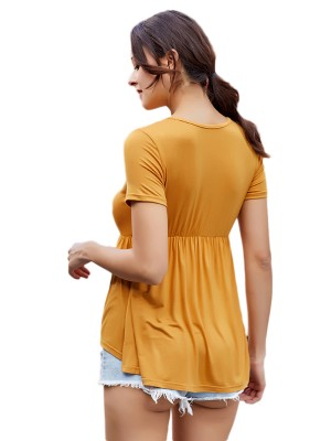 Ultimate Fashion Yellow Lace-Up V Neck T-Shirt Short Sleeves Chic Trend