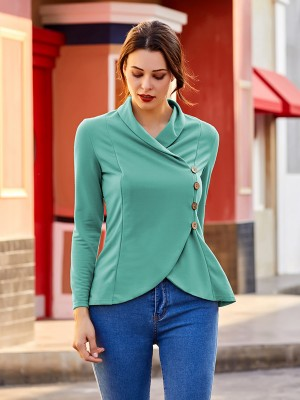 Impeccable Green Button Full Sleeve Shirt Cross Hem Fashion Tee
