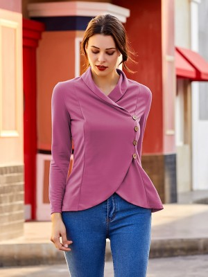 Distinctive Purple Wrap Shirt Turndown Neck Irregular Hem Online