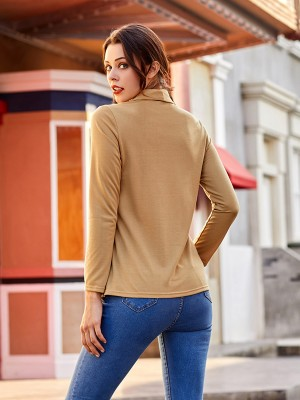 Slouchy Yellow Oblique Placket Irregular Hem Shirt Female Fashion