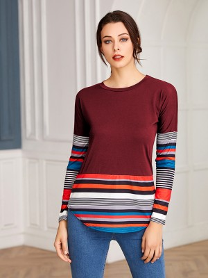 Eye-Catching Red Long Sleeves Patchwork Round Neck Top Fashion Essential