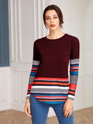 Outstanding Purplish Red Patchwork Full Sleeve Stripe Shirt Ultra Hot