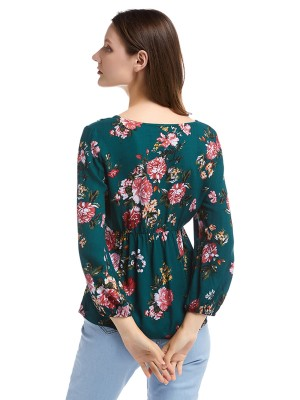 Innovative Army Green Flower Print Elastic Cuff Shirt V-Neck Women