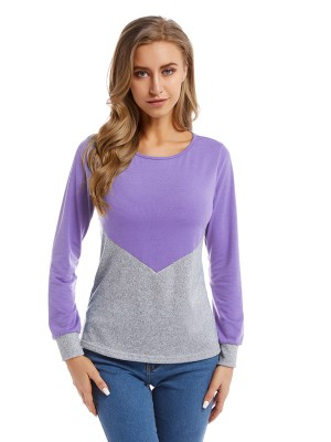 Stretchable Purple Big Size Shirt Colorblock Crewneck Girls
