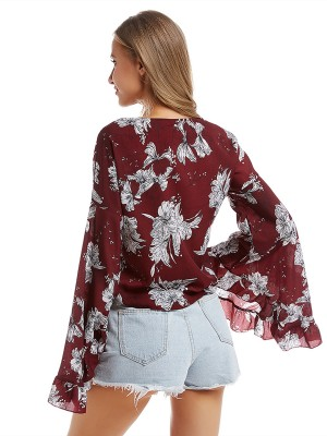 Young Girl Red Flare Sleeve Shirt Flower Printed Female Clothing