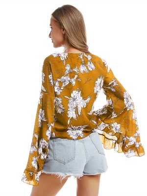 Homelike Yellow Shirt Ruffled V Neck Long-Sleeved Weekend Time