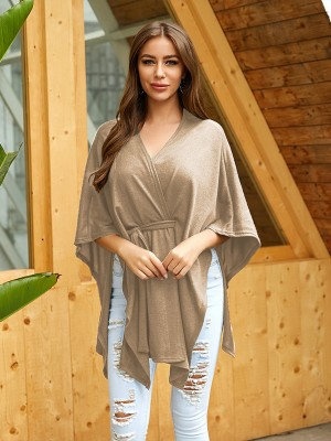 Fitness Khaki Cape Sleeve Irregular Hem Shirt Splendid Look
