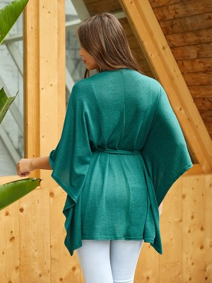 Glam Green Solid Color Shirt Tie Cross V-Neck For Holiday