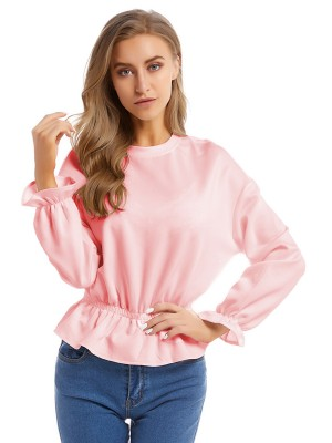 Shop Pink Poet Sleeve Shirt Plain Long Sleeves Online Shopping